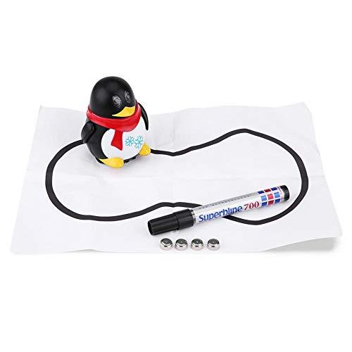 Dilwe Kreativer Pinguin, Lichtsensor Reizender magischer Autoinduktionspinguin Folgen Sie gezogener Linie Kreatives Pinguin-Roboterspielzeug mit Stift u. Papier(Schwarz)