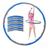 Herefun Hula Hoop Fitness, 8 Secciones Hula Hoop Fitness Aro de Fitness Desmontable, Adelgazante Hula Hoop con Mini Cinta Métrica, Professional Hoop Adecuado para Damas, Hombres, Niños (Gris + Azul 2)