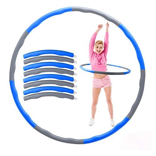 Herefun Hula Hoop zur Gewichtsreduktion, 8 Segmente Abnehmbarer Fitness Hoola Hoop Reifen, Gymnastik Kreis mit Mini Bandmaß für Zuhause BüRo Bauchformung Gewichtsverlust Geeignet (Grau+Blau)