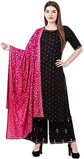 Shriza Women's Rayon Printed Stylish Party Wear Kurta Palazzo Set With Dupatta (BLACK)