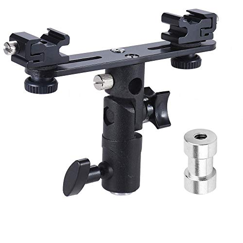 "EXMAX E2 Adjustable Double Flash Bracket Dual Hot Shoe Speedlight Stand Umbrella Holder Light Stand Bracket Mount 1/4"" to 3/8'' for Studio Video DSLR Camera"