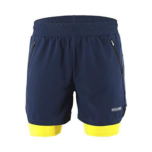 JQKA Herren MTB Hose Radhose Schnell Trocknend Wasserabweisend Atmungsaktive Kurz Fahrradhose Shorts(Size:Large,Color:Blau)