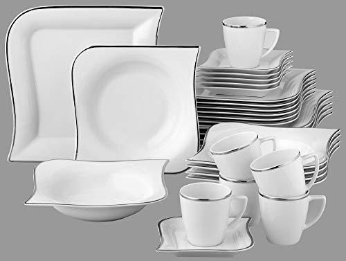 Kombiservice Silverline 30tlg. für 6 Personen Porzellan mit Silberrand Tafelservice & Kaffeeservice