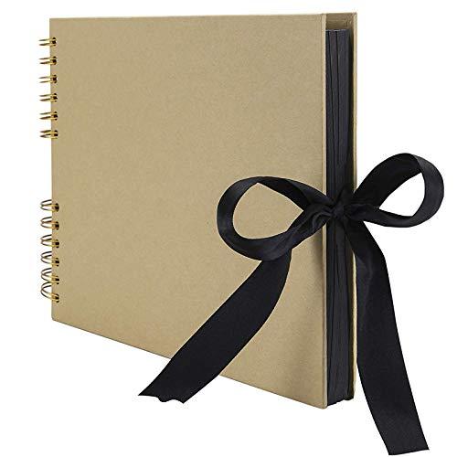 Album de Fotos Scrapbook,80 Páginas (40 hojas Negras) DIY Scrapbooking Encuadernación en Espiral Álbum Original para Aniversario de Boda de Invitados,Boda,Amarillo