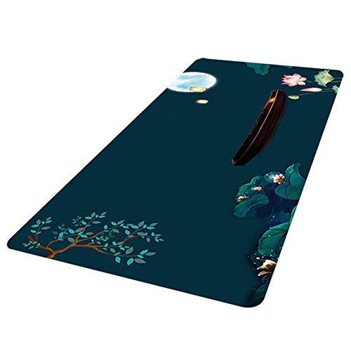 Kesio Alfombrilla de ratón con patrón de hojas de loto, antideslizante, de goma, para ordenadores, portátiles, impermeable, para oficina, 27.6 x 11.8 pulgadas