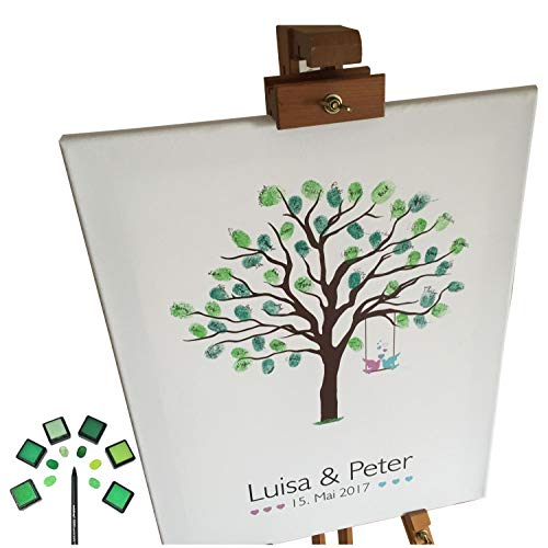 KATINGA Personalisierte Leinwand zur Hochzeit - Motiv Baum - als Gästebuch für Fingerabdrücke (40x50cm)