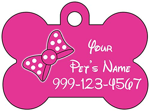 uDesignUSA Cute Pink Minnie Bow Pet Id Dog Tag Personalized for Your Pet