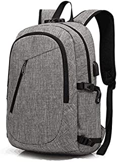 Unisex,Laptop Bags Anti-theft Notebook Backpack With USB Charger Port Student School Bag-Grey