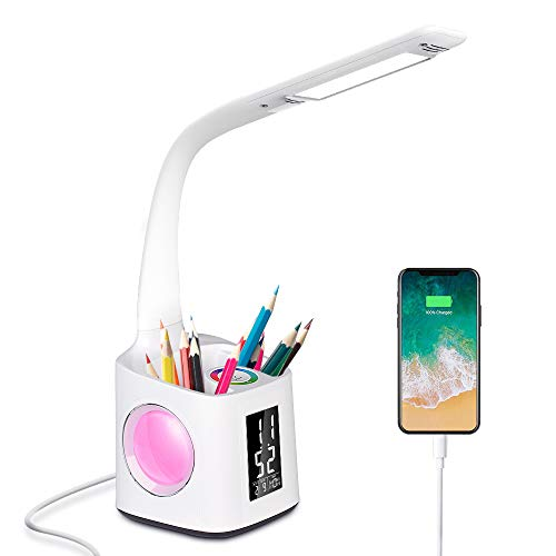 Donewin LED Desk Lamp with USB Charging Port&Pen Holder, Study Light with Clock&Calendar, Study Lamp for Kids/Girls/Boys, Eye-Caring Desk Light for Office/Work/Reading, Colorful Night Light,10W