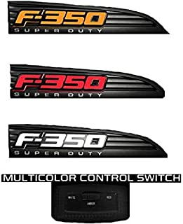 11-16 Ford F350 Illuminated Emblems 2-Piece Kit Includes Driver & Passenger Side Fender Emblems in Black - F350 in AMBER ILLUMINATION
