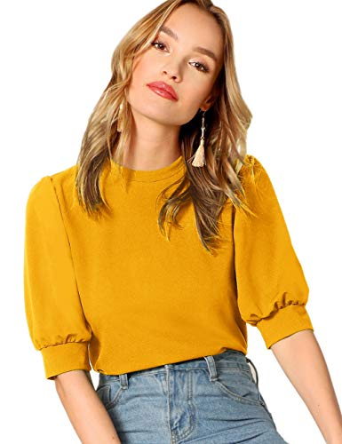 SheIn Women's Puff Sleeve Casual Solid Top Pullover Keyhole Back Blouse Yellow Medium