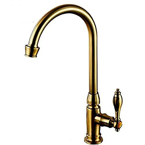 Grifo de lavabo de cocina con rotación de 360 °, grifo de agua con cuello de cisne y boquilla giratoria para fregadero de cocina con accesorios estándar del Reino Unido (dorado)