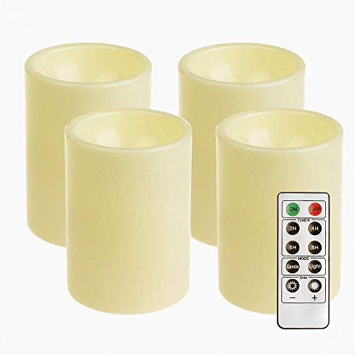GiveU Flameless LED Candles 4 Pack Ivory Battery Operated Pillar Candles Light with Timer, 3x4inches for Home Decor and Festivals Celebration