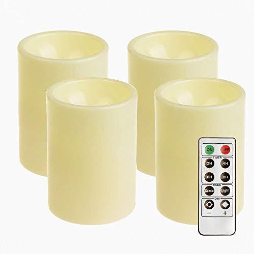 4-Pack Outdoor Plastik Kerzen, Batterie Betriebene Flammenlose Geführte Kerzen Lichter Mit Timer Für Haupt Partei Weihnachts Dekoration (7.6 * 10.2cm), Elfenbein