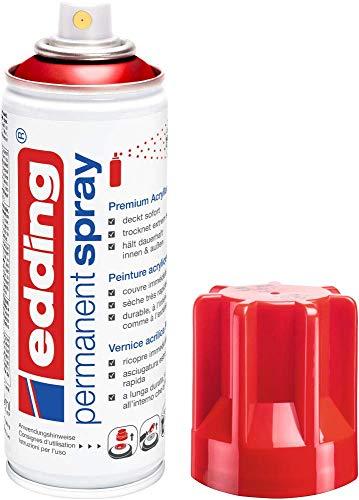 edding 5200 Permanent Spray - verkehrsrot glänzend - 200 ml - Acryllack zum Lackieren und Dekorieren von Glas, Metall, Holz, Keramik, Kunststoff, Leinwand - Lackspray,...