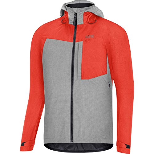 GORE WEAR Mens Trail Hooded Cycling Jacket C5 GORE TEX PACLITE M FireballTerra Grey