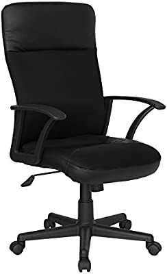 Offex CP-A142A01-GG High Back Combination Executive Swivel Office Chair, Black Leather