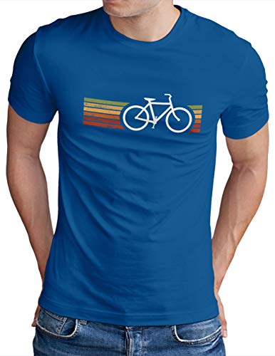 OM3® Retro Bicycle T-Shirt | Herren | Cycling Cyclist Biking Fahrrad Radfahrer | Royal Blau-WS, L