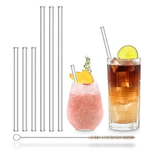 HÅLM Cannuccia - Cannucce in Vetro riutilizzabili - Set da 6, 2 Dimensioni - Cannucce + 1 Spazzola per la Pulizia - Senza BPA - Lavabili in lavastoviglie - Ecosostenibili - per Cocktail e frullati