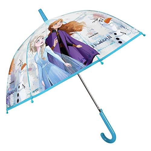Regenschirm Kinder Transparent Frozen 2 die Eiskönigin - Kinderschirm Automatik Disney Kleinkind mit Elsa Anna Olaf - Kinderregenschirm für Mädchen 3 4 5 6 Jahre - Durchm 74 cm - Perletti (Hellblau)