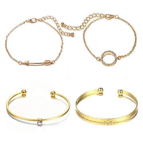 weifengji - Bogen und Pfeil Strass Armband Set für Frauen und geometrische Öffnung Armband Mädchen 4tlg verstellbar