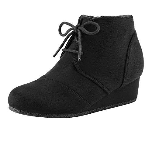 DREAM PAIRS Little Kid Tomson-K Black Girl's Low Wedge Heel Booties Shoes - 13 M US Little Kid