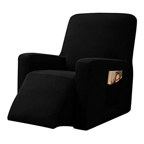 CHUN YI 1-Stück Jacquard Husse, Überzug, Bezug für Fernsehsessel, Relaxsessel, Liege Sessel, Schaukelstuhl, Relaxstuhl, Recliner Sessel, mehrere Farben (Schwarz)