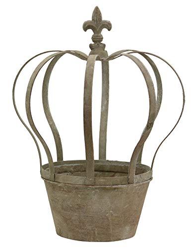 Krone Dekokrone Blumentopf Übertopf Pflanztopf Shabby Landhaus Vintage Gartendeko Garten Deko Dekoration Metall braun grau (groß 231985)