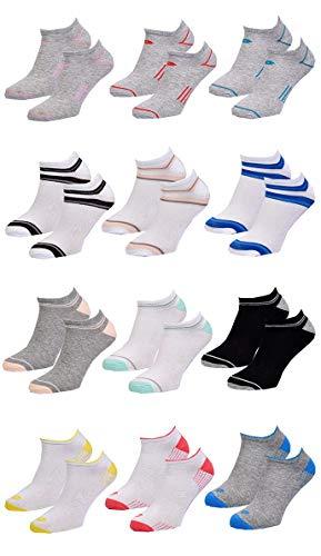 Ozabi Lotto - Calcetines para mujer, diseño de tigre corto, multicolor Lotto - Lote de 12 pares de zapatillas deportivas 36/42 ES