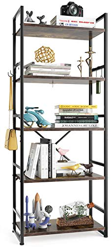 HAIOOU Bookshelf 5Tier Bookcase Sturdy Antique Wood Design with Industrial Black Metal Frame Shelving Unit Vintage Storage Organizer Standing Shelf for Home Office