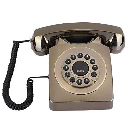 Teléfono Fijo Vintage, teléfono de Escritorio Multifuncional Chapado en Bronce con Tono de Llamada, Aspecto Retro Exquisito, teléfono clásico Vintage para Oficina en casa(Bronce)