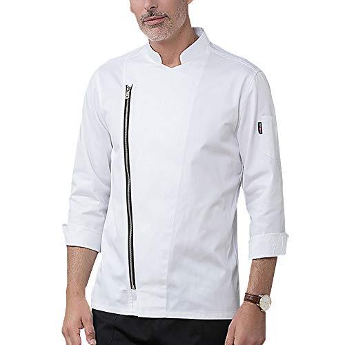 Unisex Herren Und Damen Herbst Winter Langarm Kochjacke, Chef Uniform,Westliches Essen Restaurant Küche Hotel Uniform Berufsbekleidung,Weiß,M