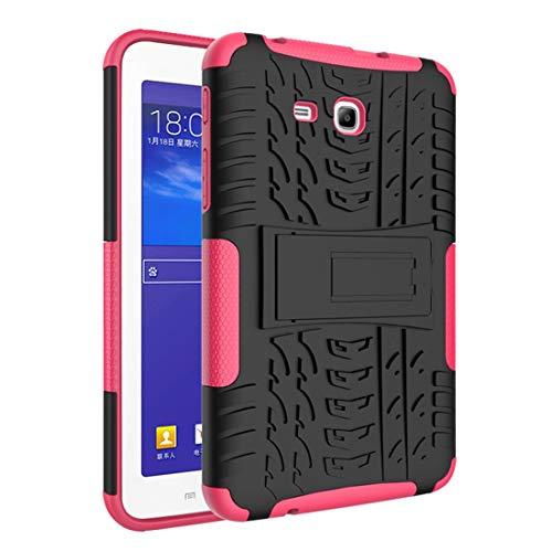 GUOQING Funda para tablet Samsung Galaxy Tab 3 Lite/Tab 4 Lite /T110/T113 Textura de neumáticos a prueba de golpes TPU+PC Funda protectora con asa plegable (color: rosa rojo)