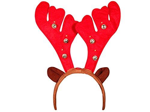 Serre tête (wm-20) lumineux forme bois de renne cerf avec grelots et oreilles, musique de noel et LED clignotantes fonctionnant avec un bouton poussoir, Hauteur du motif bois de renne environ 20 cm avec petites clochettes Convenable aux adultes et aus enfants grace à sa flexibilité, Ce serre-tête ne vous fera pas passer inaperçue pendant ces Fêtes de Noël accessoire idéal pour se déguiser et faire la surprise pour les petits enfants, Haute de Gamme ALSINO