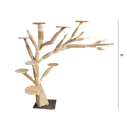 Massivholz-Katze Aktivitätskratzbäume Kratzbaum mit 8 Discs Verschleißfeste Antihaft Haar Log toten Baumstamm Große Haustier-Katze-Spielzeug (Color : Wood color, Größe : 1 meter)