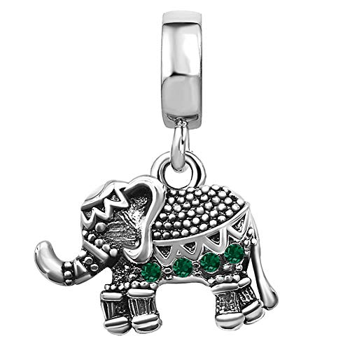 JMQJewelry Elephant Love Dangle Birthday Birthstone May Green Charms for Bracelets Thanksgiving Gifts