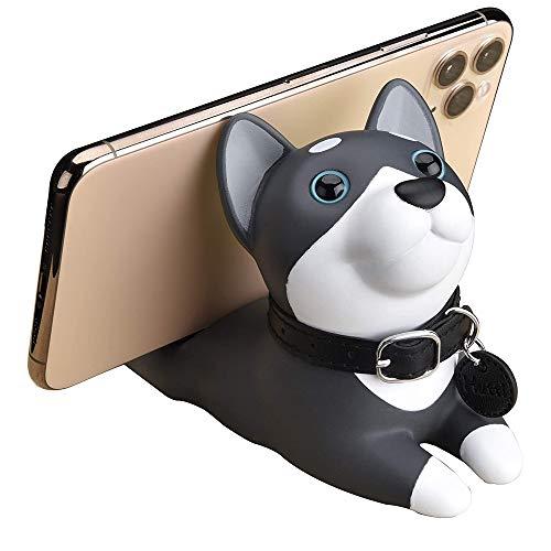 Cute Dog Cell Phone Holder for Desk, Angle Adjustable Desk Phone Stand, Animal Desktop Accessories, Mount for iPhone Smartphones and Tablets, Husky