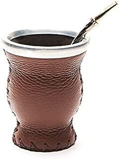 BALIBETOV Mate Argentino - Set de Mate de Vidrio Forrado en Cuero - Alternativa Mate de Calabaza - con Bombilla (Sorbete) para Yerba Mate. (Marron)