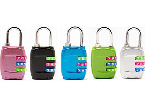 ZHW Combination Lock 3 Digit Padlock for School, Gym & Sports Locker,Luggage Suitcase Baggage Locks (5 Pack)