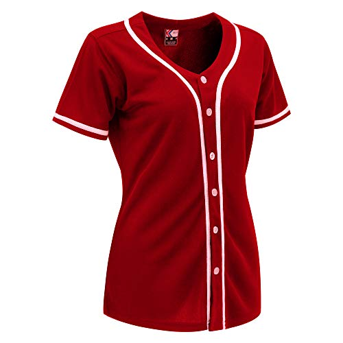 MOLPE Women Hip Hop Hipster Button Down Baseball Jersey (Red/White-2, L)