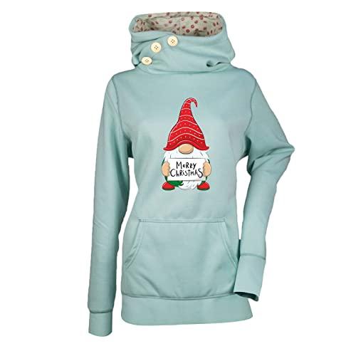 Baiomawzh, maglione natalizio da donna, con cappuccio e tasca con cappuccio