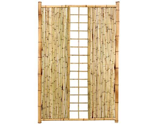 Sichtschutzwand Bambus Ten New Line10 mit Spalier mittig 180x120cm - Bambuswand Windschutz Sichtschutz Wand für Sichtschutz Blickschutzwand Terasse