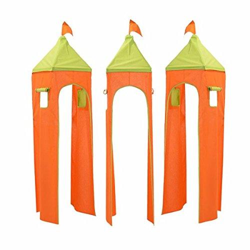 XXL Discunt Donjon Tour pour lit surélevé superposé mi-Hauteur Mezzanine avec Toboggan Tissu Coton (Orange/Vert)