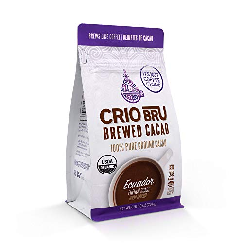 Crio Bru Ecuador French Roast 10oz Bag | Organic Healthy Brewed Cacao Drink | Great Substitute to Herbal Tea and Coffee | 99% Caffeine Free Gluten Free Whole-30 Low Calorie Honest Energy