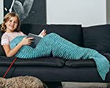 Mermaid Tail Blanket for Teen Girls with Anti-Slip Neck Strap Wave Pattern   Soft Sleeping Bag for All Seasons Blue