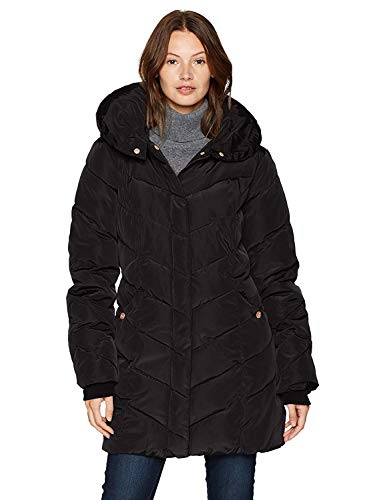 Steve Madden Women's Long Heavy Weight Puffer Jacket, Black, Large