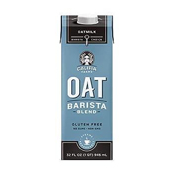 Califia Farms - Oat Milk Unsweetened Barista Blend 32 Oz  Pack of 6    Shelf Stable   Non Dairy Milk   Creamer   Vegan   Plant Based   Gluten-Free   Non-GMO