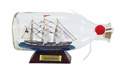 magicaldeco - Figura de barco dentro de una botella (16 cm de largo)