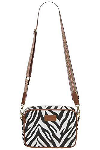 CODELLO Damen Crossbody-Bag mit Zebra-Dessin aus Canvas