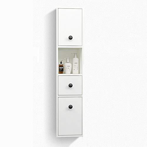 CuiXiangUK Kleiner Badezimmereckschrank mit Tür und Regal, Massivholzwandschrank, schmaler Spülenablage, Papierhandtuchhalter, weiß